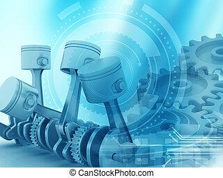 エンジン, コグ, ピストン, background;, 車輪, 3d