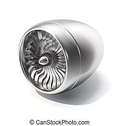 エンジン, ジェット機, バックグラウンド。, 隔離された, レンダリング, 白, 3d