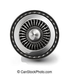 エンジン, ジェット機, バックグラウンド。, 隔離された, 背中, レンダリング, 白, 光景, 3d