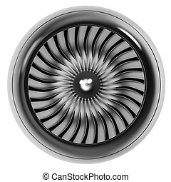 エンジン, ジェット機, 隔離された, バックグラウンド。, 前部, 白, 光景