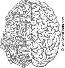 エンジン, スケッチ, メカニズム, 脳, ベクトル, ギヤ, 人間