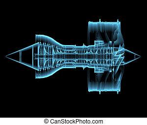 エンジン, ターボ, ジェット機, (3d, transparent), 青, x 線