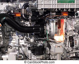 エンジン, トラック, ディーゼル, クローズアップ