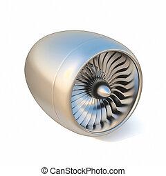 エンジン, バックグラウンド。, 白, 隔離された, ジェット機