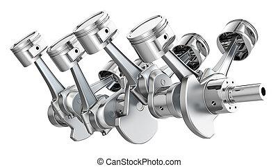 エンジン, ピストン, v8, crankshaft