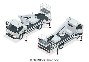 エンジン, ベクトル, バックグラウンド。, イラスト, 動力を与えられる, style., truck-mounted., scissor, 黄色, 白, 現代, 等大, 隔離された, 平ら, リフト