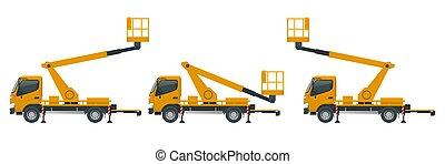 エンジン, ベクトル, バックグラウンド。, イラスト, 動力を与えられる, style., truck-mounted., scissor, 黄色, 白, 現代, 隔離された, 平ら, リフト