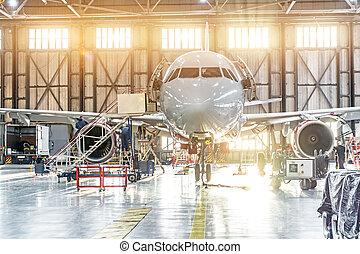 エンジン, 乗客, 維持, 空港, 航空機, hangar., 修理