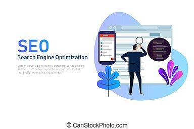 エンジン, 平ら, 捜索しなさい, 概念, モビール, 現代, website., 着陸, template., ウェブサイト, 編集, optimization, デザイン, seo, 分析しなさい, ページ, code.