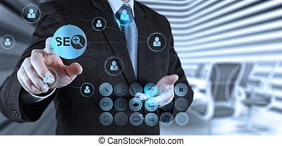 エンジン, 捜索しなさい, 提示, 手, optimization, seo, ビジネスマン