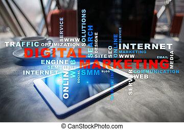エンジン, 捜索しなさい, smm., マーケティング, concept., optimisation., 言葉, デジタル, advertising., cloud., internet., seo., 技術, online.