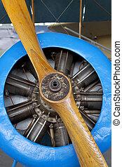 エンジン, 木, 古い, 型, の上, 航空機, 飛行機, プロペラ, 終わり