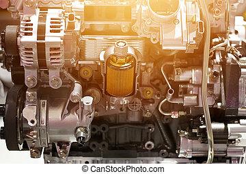 エンジン, 概念, カラフルである, 自動車, 金属, 切口, 部分