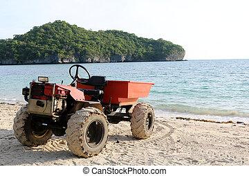 エンジン, 浜, 修正された, トラック, 小さい, adapted