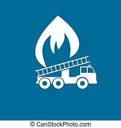 エンジン, 火, ベクトル, イラスト