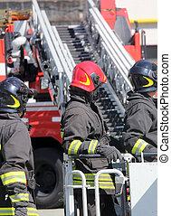 エンジン, 火, 消防士, ケージ