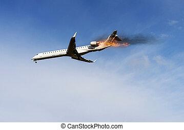 エンジン, 火, 飛行, の上, 飛行機, 持つ
