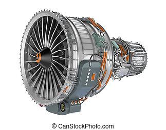 エンジン, 白, ファン, 背景, ジェット機