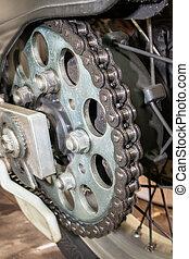 エンジン, 車輪, 力, 鎖, 配りなさい, ドライブしなさい, 手かせ, 重要, あらゆる, 後部
