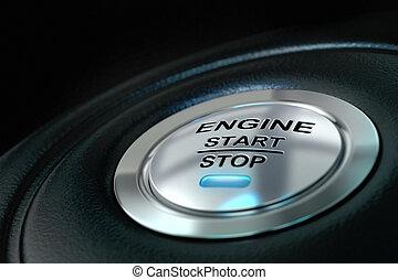 エンジン, 青, anf, ライト, テキスト, ボタン, textured, 止まれ, の上, 始めなさい, 背景, 黒, 詳細, 自動車, 終わり