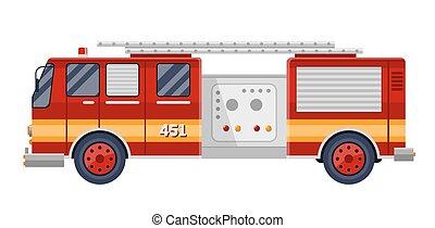 エンジン, illustration., 火, ベクトル, トラック, 白い赤