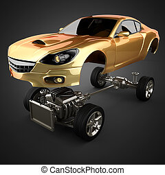 エンジン, sportcar, 自動車, シャーシー, 贅沢, brandless