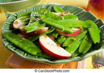 エンドウ豆, アップル, サラダ, 雪