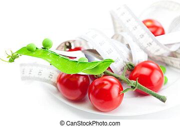 エンドウ豆, テープ, 隔離された, プレート, 測定, トマト, 白