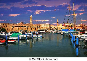 エーカー, harbor., 古い, israel.