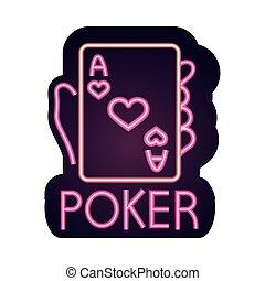 エース, ギャンブル, ネオン, カジノ, ポーカー, カード, 印