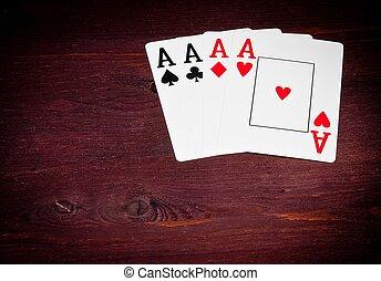 エース, トランプ, ∥で∥, スペース, ∥ために∥, テキスト, 概念, の, ポーカー, ゲーム, テキサス