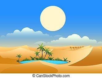 オアシス, 砂漠, 背景