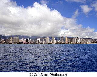 オアフ, waikiki 浜, 海岸線, ハワイ