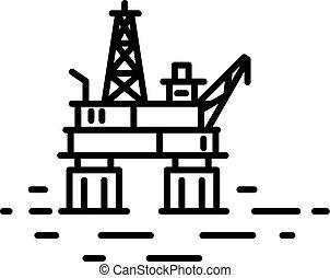 オイル, ∥あるいは∥, 沖合いに, 平ら, プラットホーム, 線である, イラスト, ガス