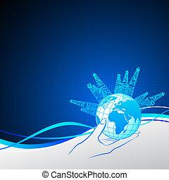 オイル, のまわり, デリック, 手。, 惑星, 女の子