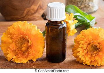 オイル, びん, calendula, 新鮮な花, 必要