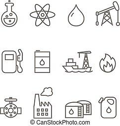 オイル, ガソリン, 産業, 線, アイコン, タンカー, 燃料, set.
