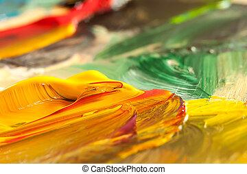 オイル, キャンバス, 抽象的, 手ざわり, ペンキ, 背景