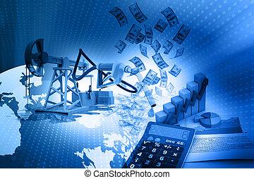 オイル, グラフ, 成長, デジタル, ポンプジャッキ, ドル, イラスト