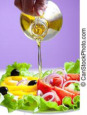 オイル, サラダ, 流れ, 健康, オリーブ, 野菜, 新たに