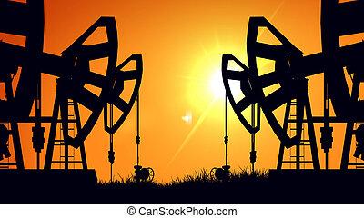 オイル, シルエット, industry., ジャッキ, sunset., ポンプ