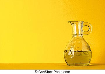 オイル, ジャー, 黄色, ガラス, 背景, オリーブ