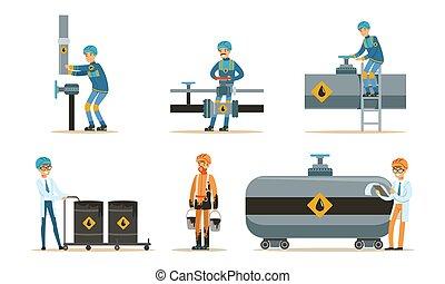 オイル, セット, pipeline., illustrations., ベクトル, 人