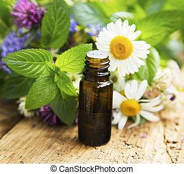 オイル, ハーブ, 療法, 薬効がある, 選択肢, 花, 必要