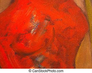 オイル, バックグラウンド。, 抽象的, キャンバス, 手ざわり, ペンキ, 赤