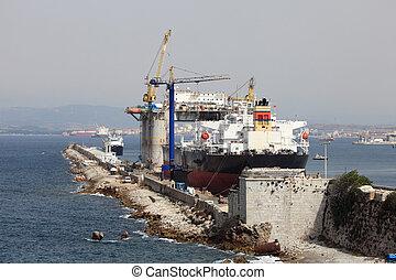 オイル プラットホーム, ドック, ジブラルタル, 船, タンカー
