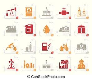 オイル, 交通機関, アイコン, ガス, 貯蔵, 定型, 産業, 生産