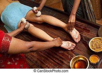 オイル, 伝統的である, indian, フィートの マッサージ, ayurvedic