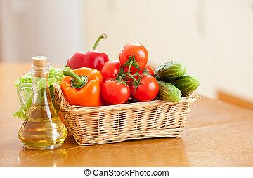 オイル, 健康, 野菜, 食物, t, びん, バスケット, 新たに