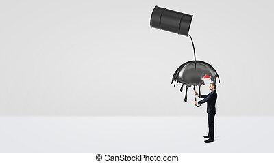 オイル, 傘, 漏出, 大きい, 小さい, 黒, 下に, 原油, ビジネスマン, barrel., 隠ぺい